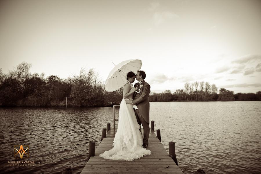 bride and groom on the bridge