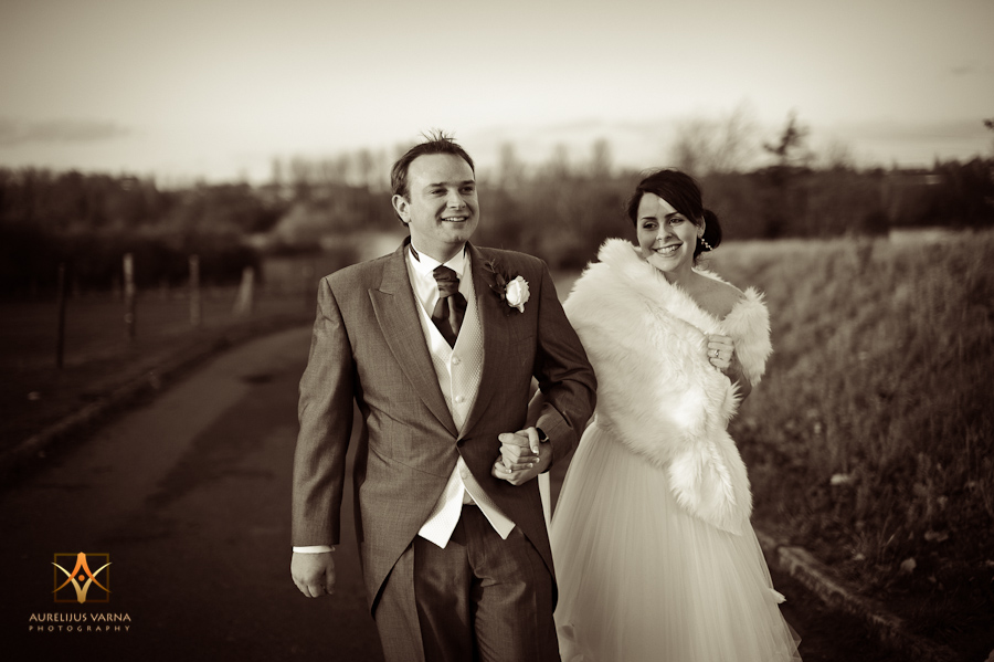 black and white shot of bride and groom