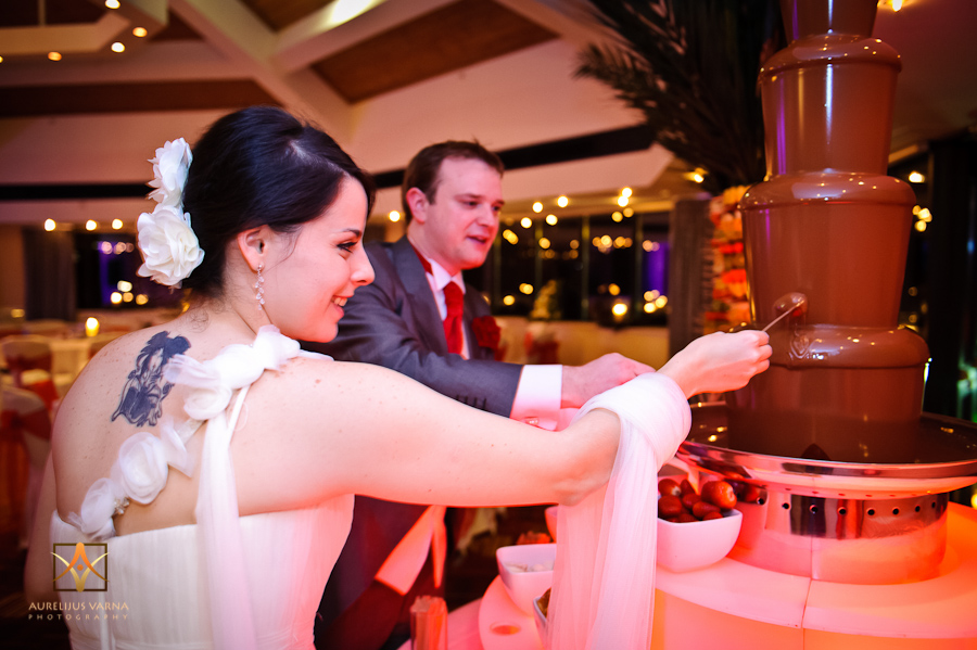 bride and groom and the chocolate fountain